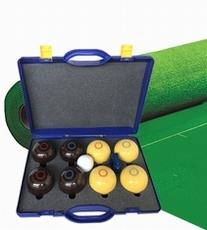 Koersbal compleet met bruine + gele koersballen (bias 3)
